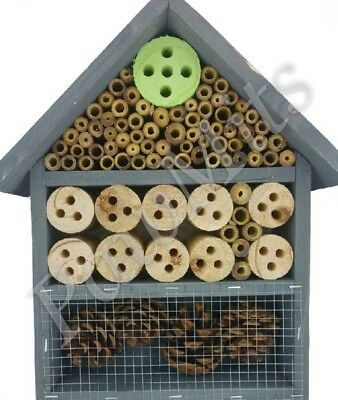 INSECT & BEE HOTEL - Wooden Home Hang Mount Wood House Bug Bed Pine Cone PawMits