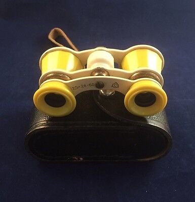 Vintage Opera Glasses In Leather Case - Yellow Bakelite - Made In USSR
