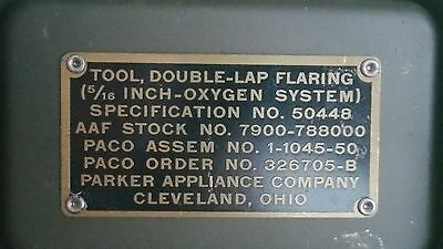 """Vintage Aircraft 5/16"""" Oxygen Line Double Lap Flaring Tool"""