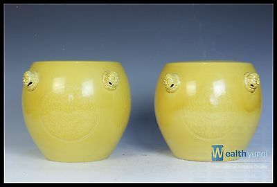 Fine Chinese Beautiful A Pair Yellow Glaze Porcelain Carved Tigers Head Chair