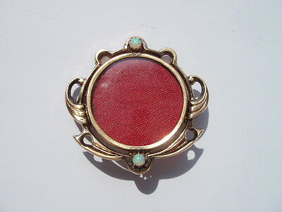 Antique Art Nouveau German Photo Locket Brooch Set With Opals In 8Ct (.333) Gold