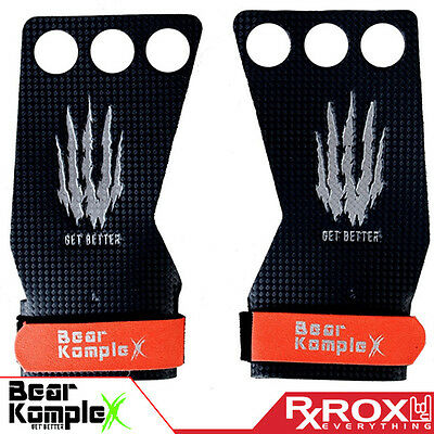 Bear KompleX Carbon Comp Grips | 3 Hole | CrossFit Pull-up Gym Gloves
