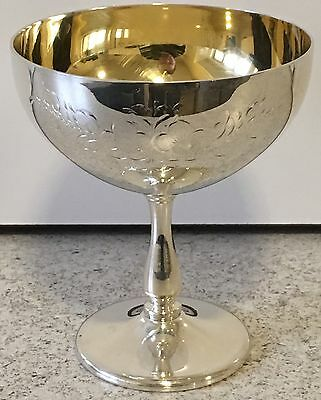 Silver Plated Champagne Saucer Antique Floral Engraving Wine Goblet Cup