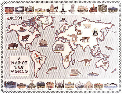 Counted Cross Stitch Map Kits - Countries of the World