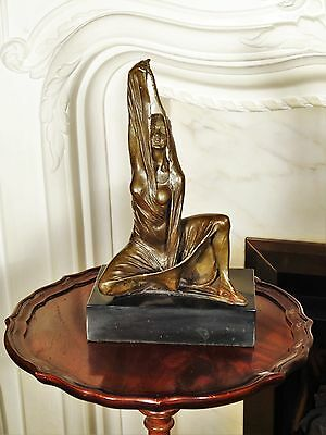 Incredible Bronze Statue Sculpture Nude Girl in Shroud Figurine Interior