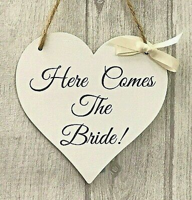 Wedding Sign Here Comes the Bride Page boy Bridesmaid Flower girl Heart