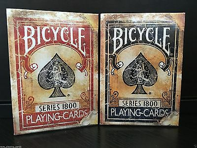 2 Deck Set Red/Blue - Bicycle Vintage 1800 Marked Limited Custom Playing Cards