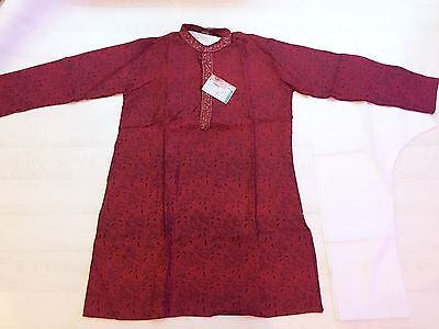 Boys Indian Bollywood Fancy Dress Costume Prince Sherwani Shirt Kurta 11yrs+ Red