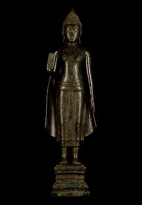 Antique 19th Century Khmer Bronze Protection Standing Buddha Statue - 89cm/36""