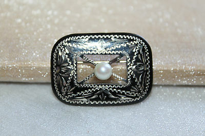 ART DECO VINTAGE Etched STERLING Silver ENAMEL & PEARL Accent Brooch Pin
