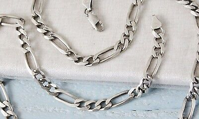 40g VINTAGE Italy STERLING silver flat link FIGARO chain necklace