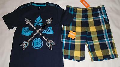 NEW Boys Size 10 12 Gymboree Outfit Outdoor Shirt & Plaid Shorts Summer $46 NWT