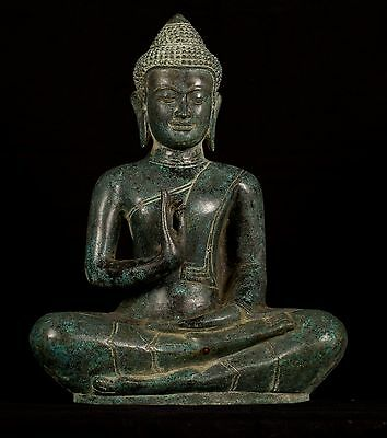 Antique Khmer Style Bronze Buddha Statue in Dharmachakra Teaching Mudra 39cm/16""