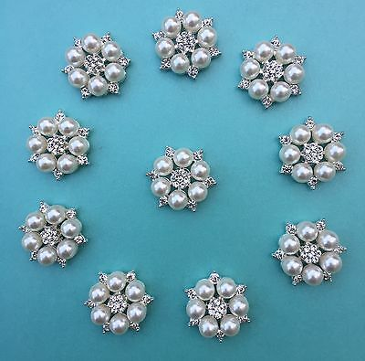 Pearl and Crystal / Diamante Embellishments, Pack Of 10