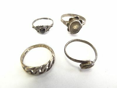 Vintage Lot Used Sterling Silver Mother of Pearl Ladies Jewelry Unusual Rings