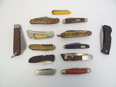 Mixed Antique & Vintage Lot Used Pocket Knives Ric-Nor Super Edge Thornton Parts