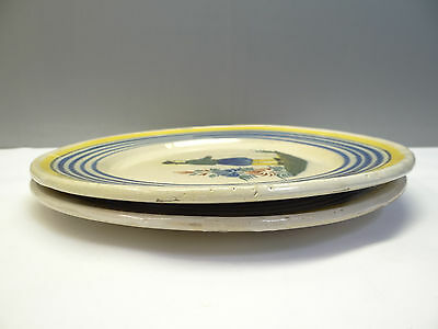 2 Vintage Used Old Pottery Quimper 1939 H.R. Henriot Yellow & Blue Plates Dishes