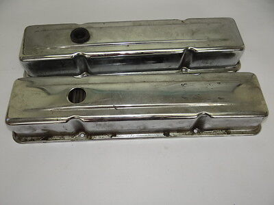 1960s Chrome Engine Small Block Valve Covers Chevrolet Vintage Used Old Metal