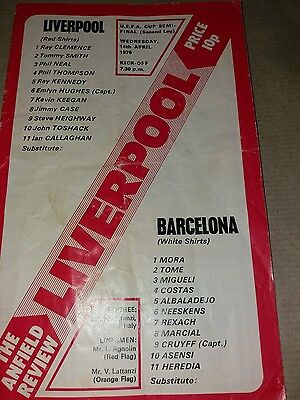 Liverpool v Barcelona uefa cup semi-final 2nd leg 14/4/1976