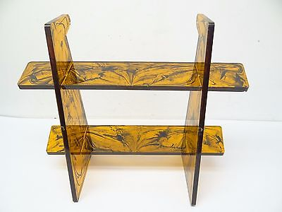Mid-century Modern Amber Black Lucite Desk Organizer Stand Shelf Used Old