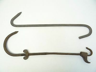 Mixed Lot of Two Industrial Metal Butchers Hanging Meat Hooks Hangers Parts Used