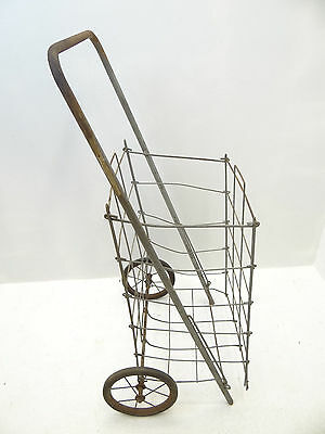 Vintage Folding Wire Metal Rubber Wheel Collapsible Flea Market Shopping Cart