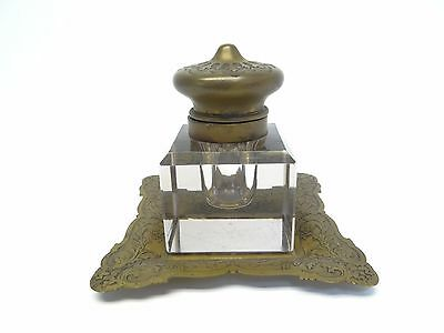 Vintage Used Old Metal Brass Glass 129 Decorative Ornate Desk Container Inkwell