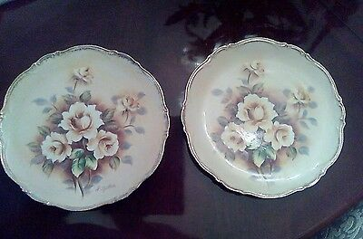 Vintage Artist signed decorative floral plates set of 2 Japan