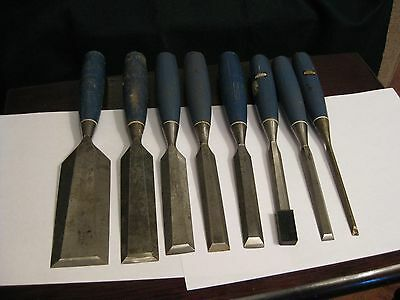 group of 8 stanley bevel edge wood chisels