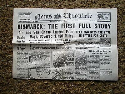 Vintage News Chronicle Bismark May 28th 1941  4 Pages Good  Appears original