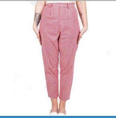 Lady K Loves Wendy Red Gingham Trousers BNWOT M vintage 50s High Waist Pinup