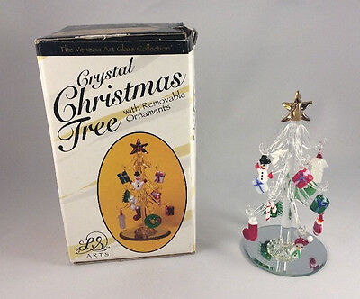 Venezia Art Glass Collection Crystal Christmas Tree w/ Removable Ornaments
