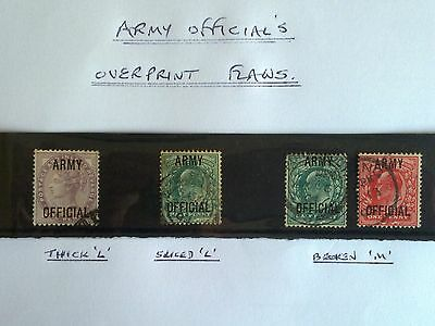 Assorted Flaws; Group of 4 Overprinted ARMY OFFICIAL Stamps