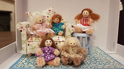 "MINIATURE DOLL 1""  handmade 1:12th scale dolls house OOAK nursery bear UK"