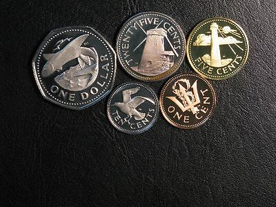 BARBADOS 1974 1-5-10-25 Cents/ 1 Dollar Proof - Lot of 5 Coins