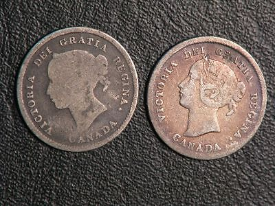 CANADA 1872H 5 Cents Silver  - Lot of 2 Coins