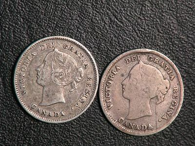 CANADA 1882H/1886 5 Cents Silver  - Lot of 2 Coins