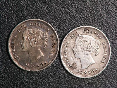 CANADA 1888/1891 5 Cents Silver  - Lot of 2 Coins