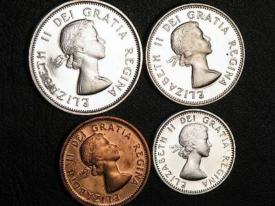 CANADA 1963 1-5-10-25 Cents Prooflike Silver  - Lot of 4 Coins