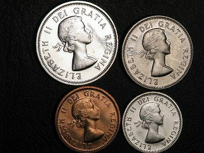 CANADA 1964 1-5-10-25 Cents Prooflike Silver  - Lot of 4 Coins