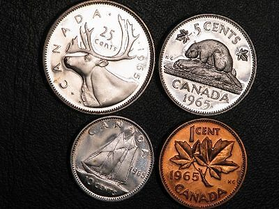 CANADA 1965 1-5-10-25 Cents Prooflike Silver  - Lot of 4 Coins