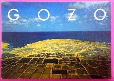 Malta postcard:Gozo.Limestone Mosaic-the salt pans at Qbajjar,posted with stamps