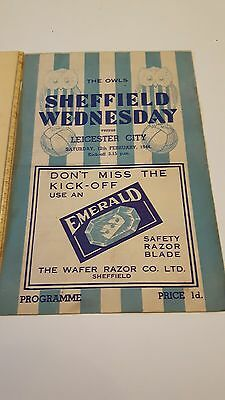 SHEFFIELD WEDNESDAY v LEICESTER CITY Sat 12th Feb 1944 Great Condition