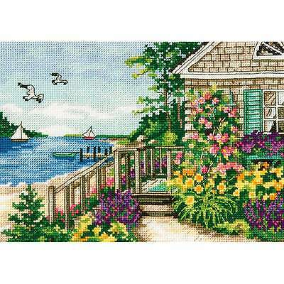 Gold Petite Bayside Cottage Counted Cross Stitch Kit-7 Inch X 5 In 088677651459