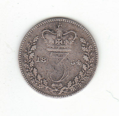 1854 Great Britain Queen Victoria Silver Threepence.