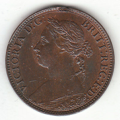 1887 Great Britain Queen Victoria 1 One Farthing. High Grade.