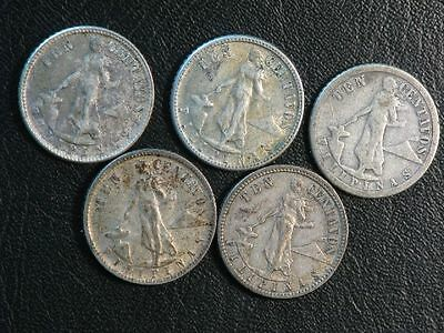 PHILIPPINES 1920-1945 10 Centavos  Silver  - Lot of 5 Coins