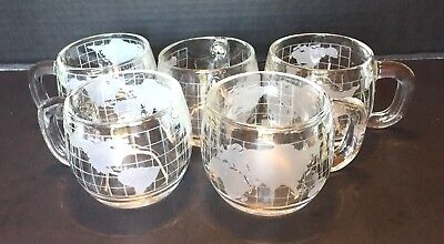 SET OF 6 Vintage NESTLE NESCAFE World Globe Earth Etched Clear Glass MUG Mugs