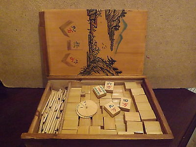 Mahjong Set..in Bamboo And Wooden Scoring Sticks..boxed..