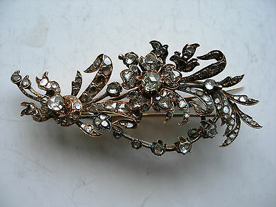 "Antique 19c. Diamond Brooch ""BUNCH of FLOWERS"" 8-9k. Rose Gold. Russian Royal"